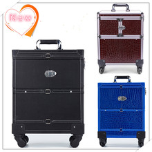 Professional Aluminum Makeup Case PU Aluminum Trolley Cosmetic Case Makeup Bag(China)