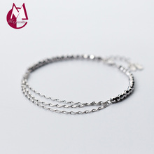 NEW 925 Sterling Silver Women's Bracelets On Hand Simple Round Beads Bracelets & Bangles Tassel Chain Fashion Jewelry S1948(China)