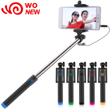 wonew wired handheld selfie stick fashion mini foldable easy portable palo selfie rod for iOS for android mobile phone selftimer