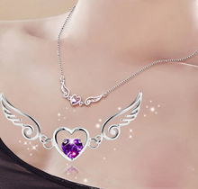 Cute Angel Wing&Heart Shape Pendant Necklace for Women Best Gift For Girlfriend Fashion Silver-color Purple AAA Crystal Choker