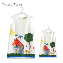 2017 Hot Selling Family Matching Clothing Mother Daughter Dress Family Party Clothes Paiting Print Sleeveless Mom and Girl Dress(China)