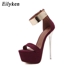 Eilyken 2017 Women Sandals 16cm Ultra high heels Summer Platform Pumps Party Club shoes Woman Sequined Gladiator Sandals