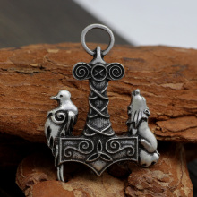 youe shone Norse Odin Thors Hammer Mjolnir Viking viking wolf and raven pendant ancient Birds necklace(China)