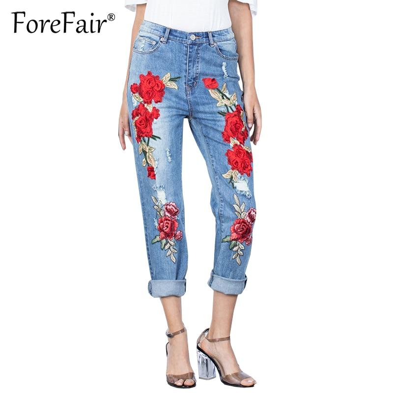 Forefair Fashion Scuffs 3D Embroidered Flowers Hole Ripped Jeans S-3XL Plus Size Women Denim Pant Trousers Vintage Stretchy JeanÎäåæäà è àêñåññóàðû<br><br>