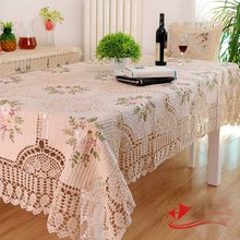 Kingart Hand Beige Cotton Handmade Crochet Tablecloth Rectangle Embroidery tablecloth Set Hollow Out Hook Flower Table Cover(China)