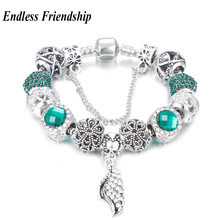 Fashion White Crystal Angel Wing Charms Bracelet Crytal Beads Bracelets Fit Pandora DIY Making Jewelry Accessories Wholesale(China)