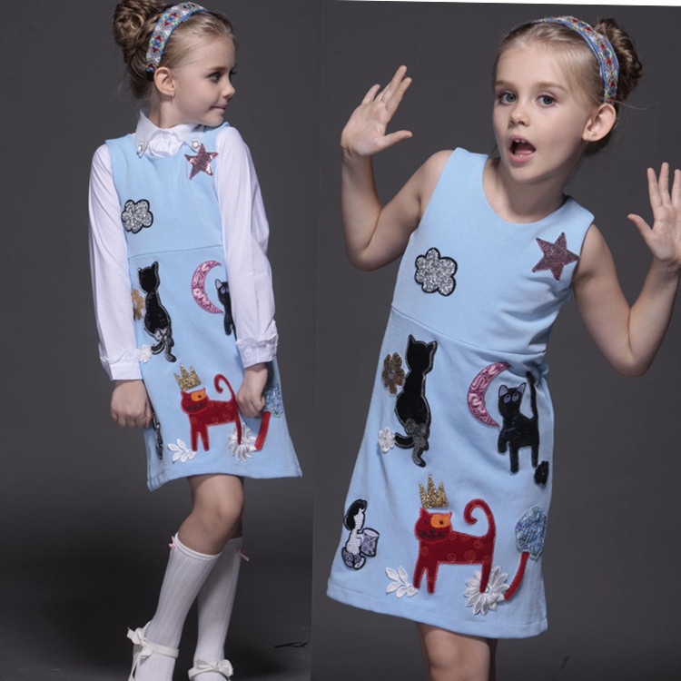 Autumn And Winter Girls Princess Dress From Nepal High-end European Doodle Vest Dress<br>