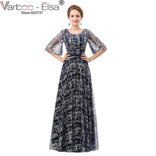 VARBOO_ELSA Navy Blue Lace Bling Bling Evening Dress Long Custom 2018 vestido longo Half Sleeve A-Line Prom Gown robe de soiree(China)