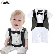 Baby Tuxedos Romper 2017 New Summer Gentleman Crown Print Rompers For Newborn Baby Kids Bow Short Sleeve Jumpsuits FF148