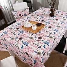 Cartoon Patterns Tablecloth for Dining Room 100% Cotton Tablecloth Suitable for Rectangle Tables Ships and Red Letters
