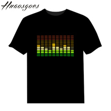 Sale Sound Activated LED Tshirt Light Up and down Flashing Equalizer music activated ELT-Shirt Unisex for Rock Disco Party DJ