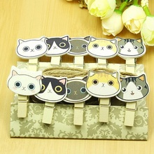 1pack/lot Zakka Cute Cat head Nature Wooden DIY Meaasge Clip set with rope students' gift prize school office supply Wholesale(China)