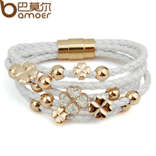 BAMOER Alibaba express Hot Sell Leather Rose Gold Color Bracelet for Women Leaf Clover Crystal Charm Jewelry PI0697(China)