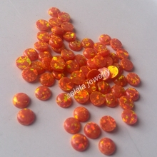 200pcs /lot  AAA Grade Polymer Impregnated 4mm OP31 Mexico  Round Cabochon Fire Opal, Synthetic Fire Round Cabochon Opal  Stone