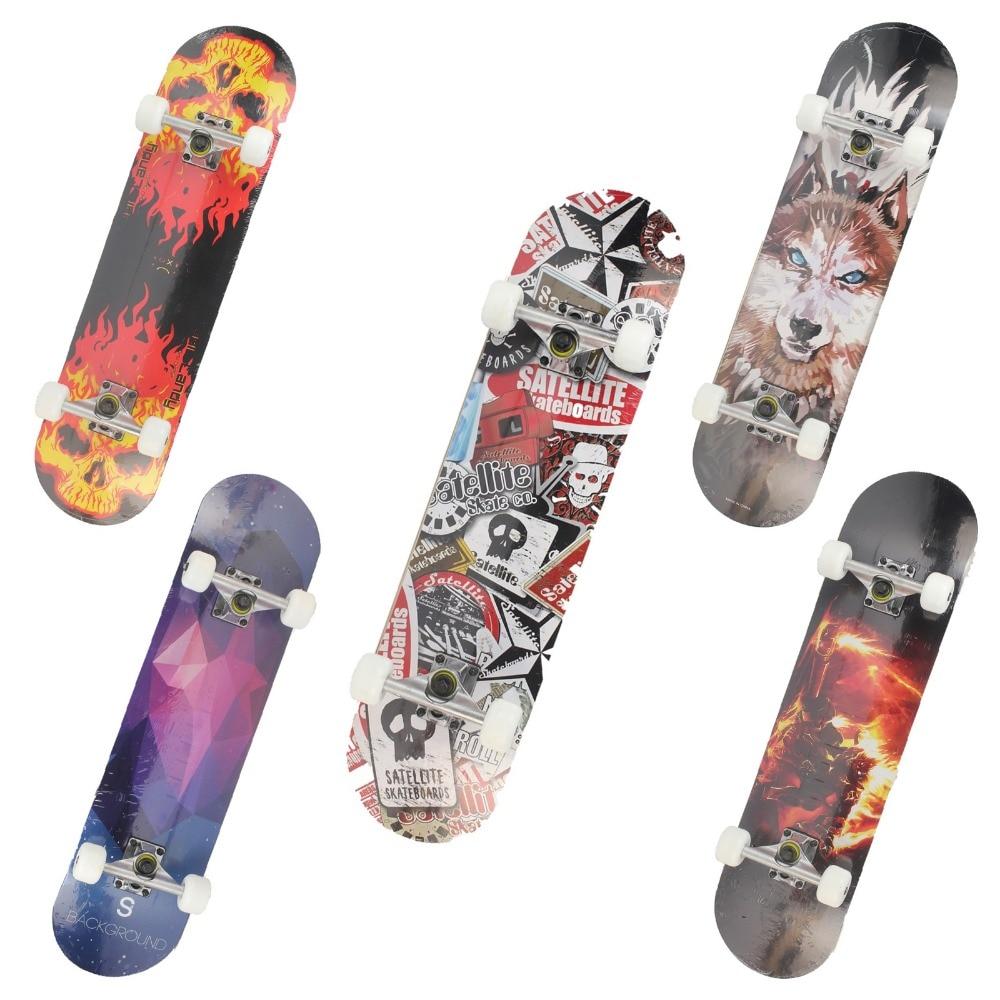 Maple Wood Four Wheel Professional wooden skateboards longboard drift skateboard ABEC-7 chrome steel bearings longboard 5 color<br>