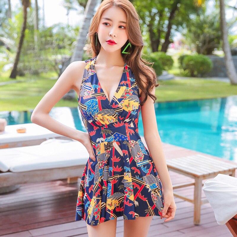 2018 Sexy Floral One Piece Swimsuit Women Swimwear Plus Size Swimming Suit For Women Beachwear Dress Tankini Bathing Suit Swim <br>