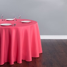 "10Pcs Coral Round 120"" Polyester Tablecloth For Wedding Party Banquet Decoration Hotel Supplies Free Shipping(China)"