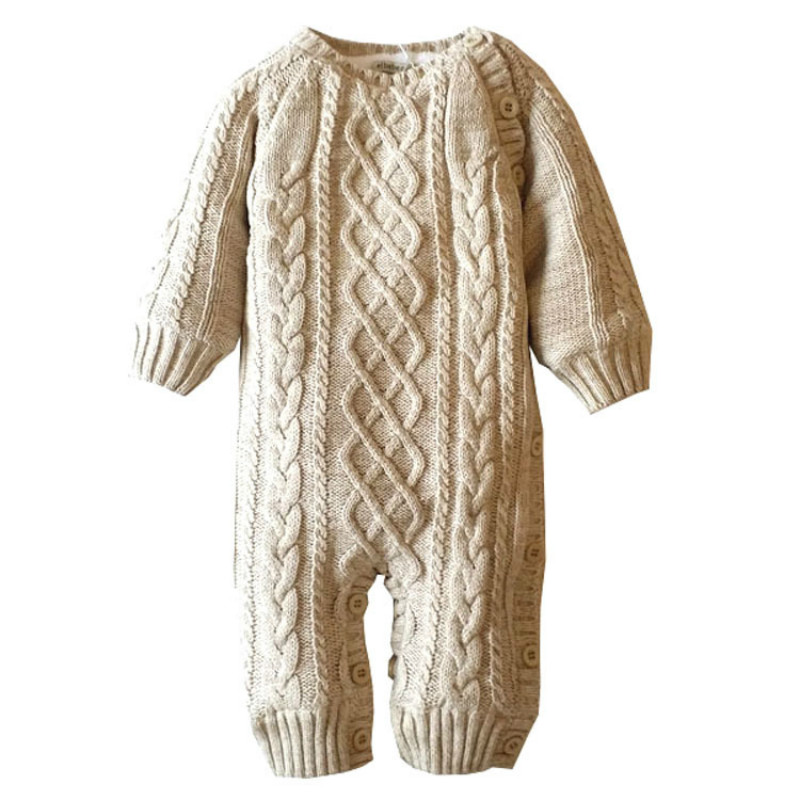Girls Warm Romper Knitted Sweater collar coat Baby Rompers Winter Thick Climbing Clothes Newborn Boys<br>