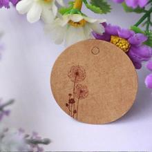 Hot 100pcs/lot Brown Kraft Paper Tags Dandelion Pattern Round Label Wedding Gift Decorating Tag 3.5*3.5cm