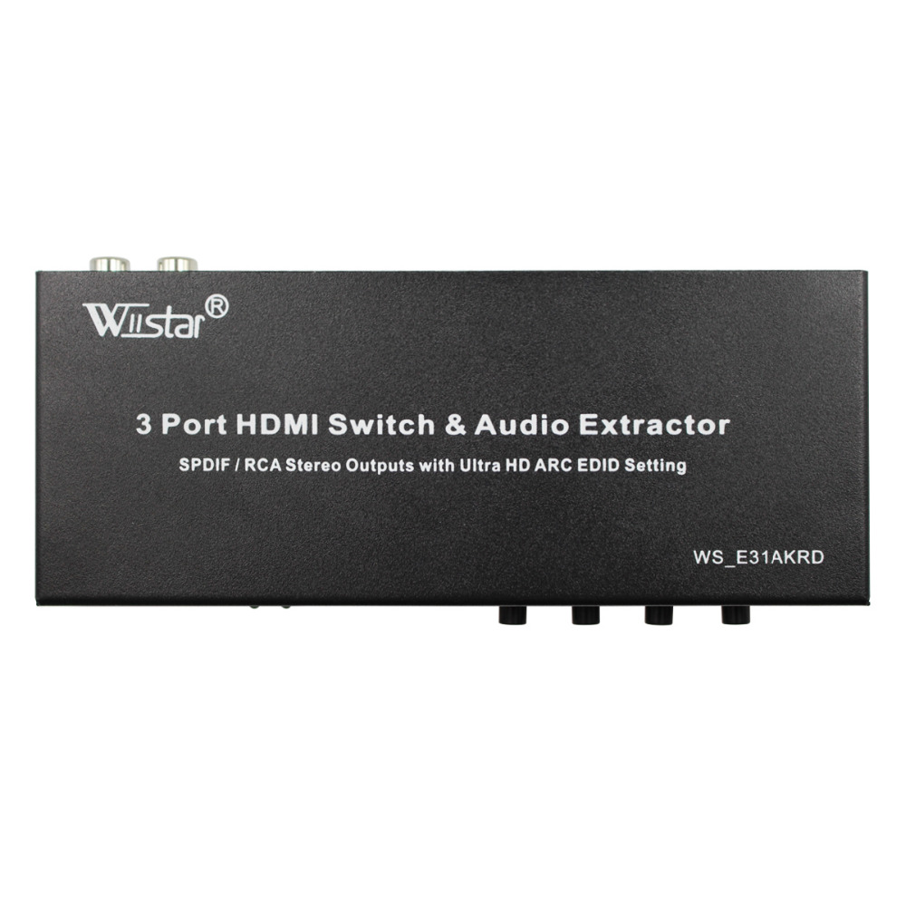 Wiistar 2017 new style 3 Port Switch HDMI MHL Audio Extractor 4K EDID 5.1CH Spdif R/L Converter<br>