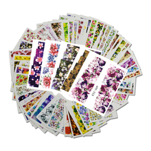48pcs Mixed 48 Designs Flower Nail Art Full Wraps Nail Foils Nail Sticker Decals Water Transfer Manicure Tips STZ352-391(China)