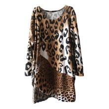 Fashion Autumn Winter Sexy Women Long Sleeve Casual Loose leopard Print Dress Cashmere Mini Party Fat MM Dresses(China)