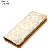 Mara's Dream 2017 Lady Purse Card Holder Clutch Bag Long Zipper Solid Color Fashion Pumping Multi-card Position Two Fold Wallet(China)