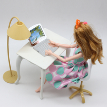 Free Shipping,doll play house doll furniture desk+lamp+laptop+chair accessories for Barbie Doll acc(China)