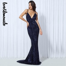 Love&Lemonade Sexy Navy blue Elastic Sequin V Collar Exposed Back Maxi Dress  LM0045