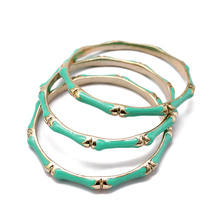 Green Enamel Bamboo Bangle Bracelet Gold Bangles For Women Trendy 2017 Fashion Jewelry Dropshipping pulseiras(China)