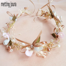 Metting Joura Wedding Bohemian Ribbon Knitted White Flower Wreath Braided  Headband Hair Jewelry