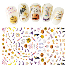 1Pc Adhesive Transfer 3D Nail Decals Halloween Styles Pumpkin Candy etc Design Nail Stikcers Decorations For Women DIY Nails Art(China)
