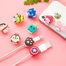 New Cute10pcs/lot Cartoon USB Cable Earphone Protector headphones line saver For Samsung HTC charging line data cable protection(China)