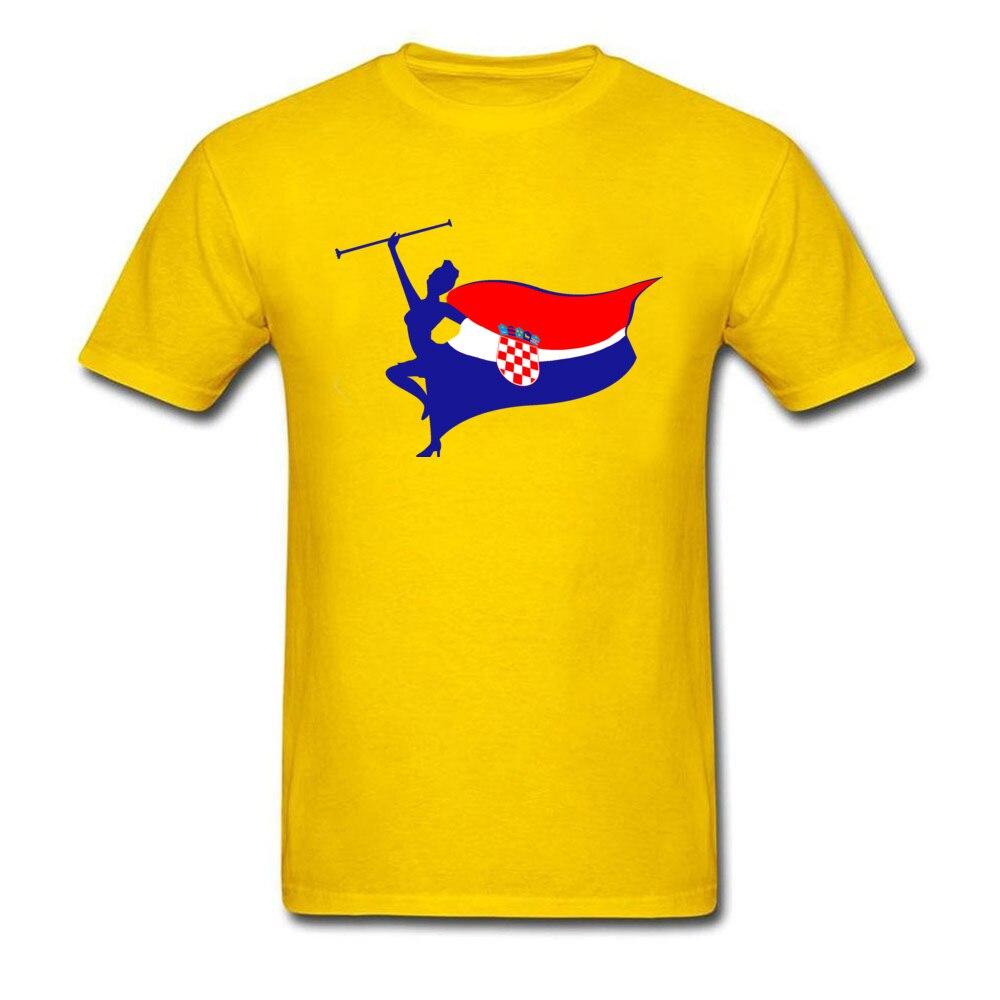 Pure Cotton Men Short Sleeve Croatia logo T Shirt Customized Tops Tees Slim Fit Geek Crew Neck Tee Shirts Top Quality Croatia logo yellow