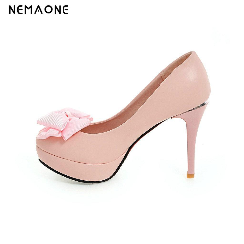 NEMAONE 2017 New fashion plus size black pointed toe party wedding thin heel women pumps platform extreme high heel lady shoes<br>