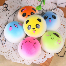 RE 1000pcs/Lot Mobile Phone Straps Squishy Cute Soft Panda/Bread/Donut Phone Keychain for Phone Decor Kawaii Strap Kid Present