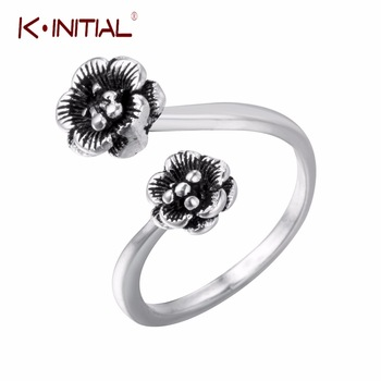 Kinitial 1Pcs Vintage Thai Silver Double Rose Flower Ring Adjustable Finger Ring Old Jewelry Sterling Silver Rings Jewelry