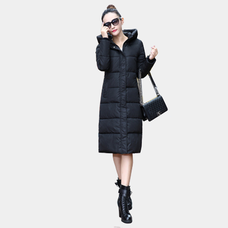 biktble Winter cotton womens clothing 2017 new thickening of the big size of the knee cotton clothes anti-cold Lengthened J176Îäåæäà è àêñåññóàðû<br><br>