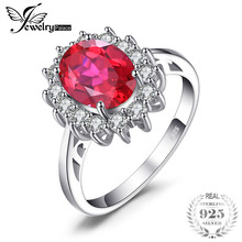 JewelryPalace Princesse Diana William Engagement De Mariage Créé Rouge bague avec rubis Ensemble Pur Solide Véritable 925 Bijoux En Argent Sterling(China)
