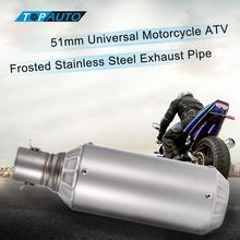 2016 akrapovic exhaust motorcycle 51mm Universal Motorcycle ATV Frosted Stainless Steel Exhaust Pipe Muffler akrapovic(China)