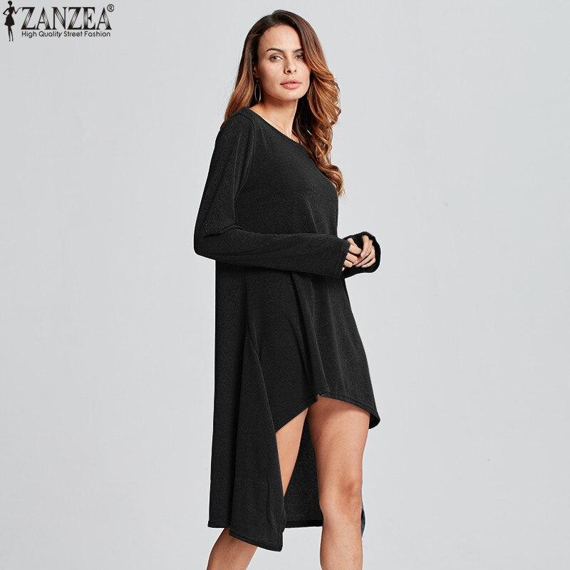ZANZEA Winter Sweater Dress Vestidos 18 Women Ladies Knitted Casual Long Sleeve Asymmetric Hem Mid-calf Dresses Plus Size 3XL 14