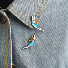 2pcs/set Synchronised Swimming Girl Metal Brooch Pins Button Bag Denim Jacket Collar Lapel Badge Fashion Sport Jewelry for Women(China)