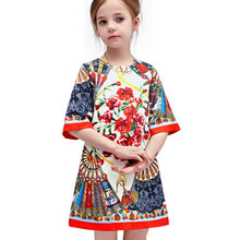 2016 Girls Spring Dresses  New Fashion red Cotton Kids Dresses for Girls Clothes Luxury Brand Princess Dress Girl Costume 3-7Y