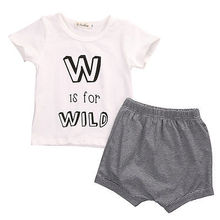 Summer Toddler Infant Baby Boy Outfits Clothes W is for Wild Short Sleeve T-shirt +Striped Pants Shorts 2pcs Baby Clothing Set