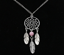 Dreamcatcher Pink Opal Feather Charms Vintage Silver Choker Collar Statement Necklace Pendant DIY Jewelry For Women  HOT  A46