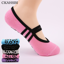 CKAHSBI Women Anti Slip Bandage Cotton Sports Yoga Socks Ladies Ventilation Pilates Ballet Socks Dance Sock Slippers 5 Colours