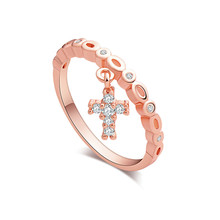 Atreus Newest 1pc Gold Color Enchanting Cross CZ Flash Shiny Woman's Ring Size 7-9(China)
