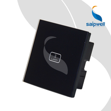 1 Key Controlled Electric Switch / Black Crystal Touch ON/Off Switch Panel 85VAC-250VAC (SPT-SF-11B)(China)