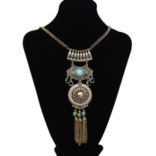 Fashion New Brand Multilayer Silver Beads Chain Tassel Long Vintage Boho Gypsy Ethnic Statement Necklaces & Pendants(China)