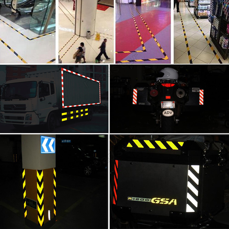 25mm x 5m Safety Mark Reflective Tape Stickers Car-Styling Self Adhesive Warning Tape Automobiles Motorcycle Reflective Material